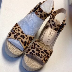 Sole Society Real Fur wedges, size 8.5M, brand new